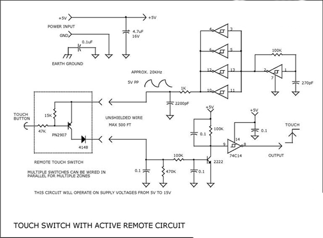 Touch Switch with Active Remote Circuit using PN2907, 2N2222, 74C14
