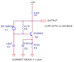 32 khz crystal oscillator circuit using 2n3904