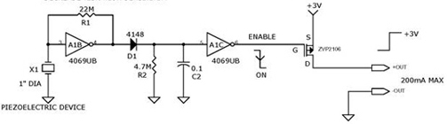 Vibration Activated Switch circuit using 4069UB, ZVP2106