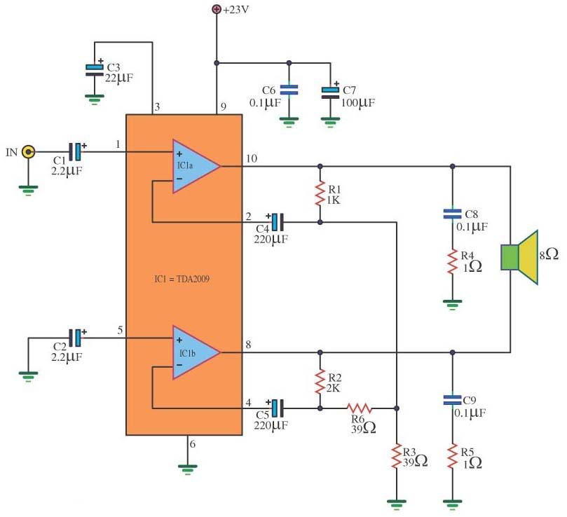 TDA2009 Circuit BCL 18W