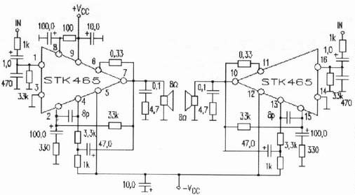 75W Power Amplifier circuit based using STK465