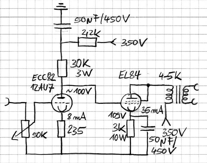 tube amp diagram using EL84, ECC82