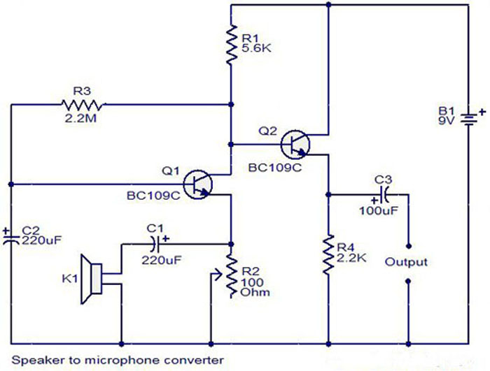 Mini Microphone circuit using BC109C