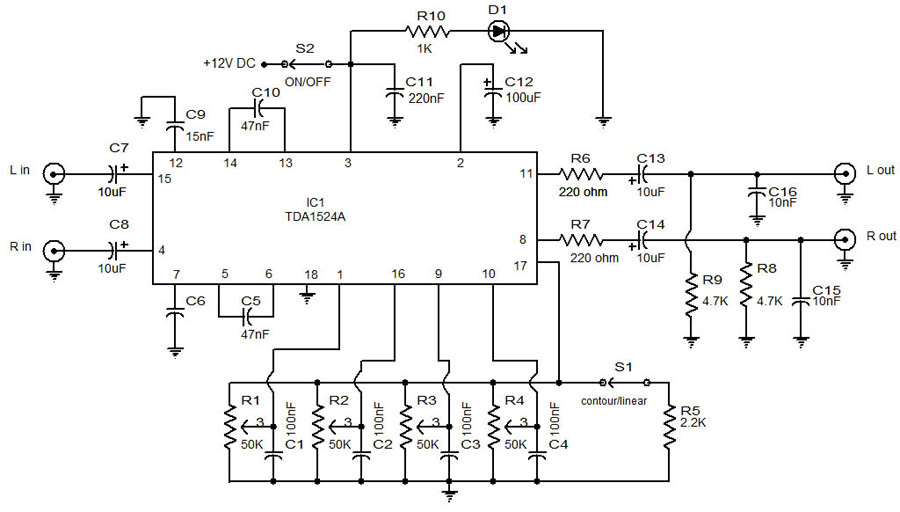 Audio preamplifier with tone control using TDA1524A