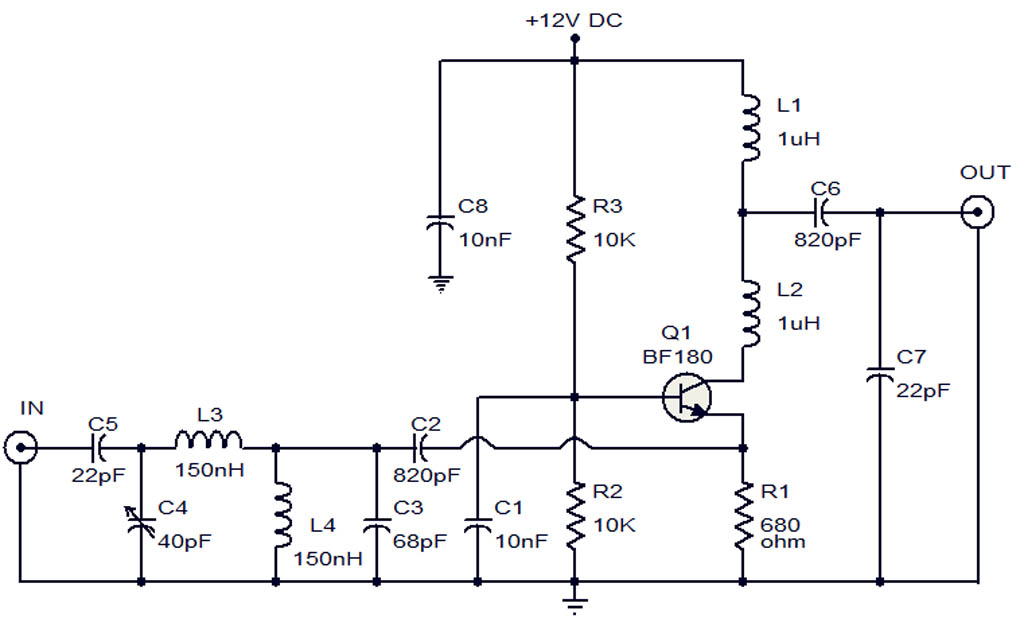 how to make a tv antenna electronic circuit diagram and layout rh afiata com Electronic Power Amplifier Diagram HD Antenna Amplifier Circuits