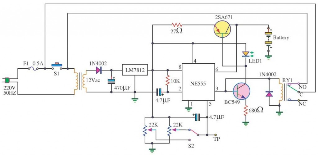 Automotive battery charger circuit diagram schematic