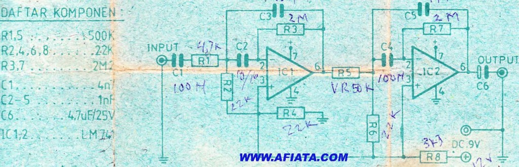 Active Filter circuit using IC LM741