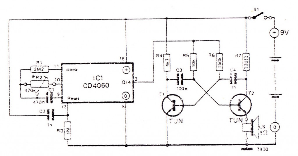 Alarm control using CD4060