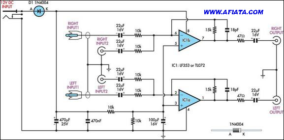 Speaker level to line level converter schematic