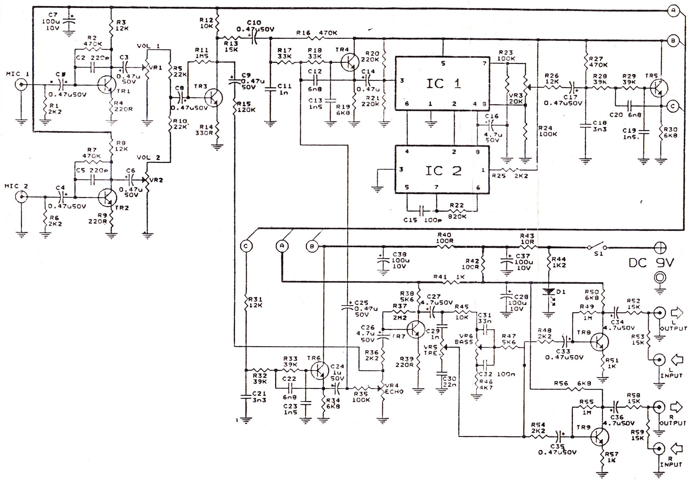 echo repeter and preamp mic schematic - electronic circuit diagram and layout