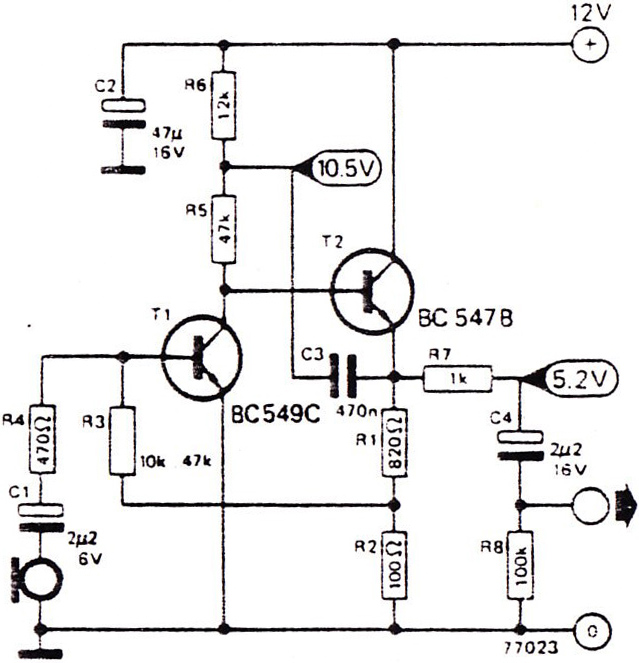 mic pre amp 2 transistor electronic circuit diagram and layout rh afiata com Microphone Preamp Circuit Microphone Preamp Circuit
