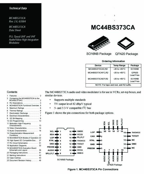 Datasheet UHF and VHF Audio video modulator