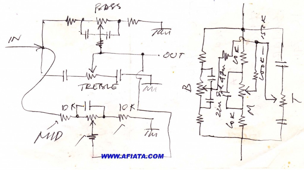 Bass treble mid range audio circuit without power supply
