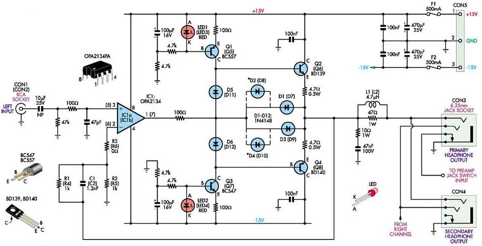 stereo headphone circuit diagram