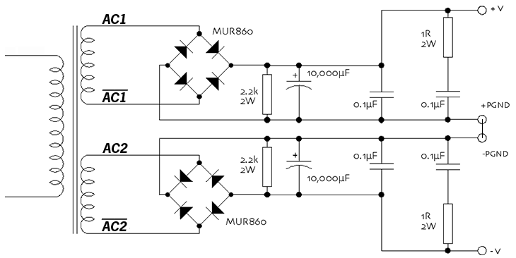 Power supply circuit diagram using LM3886, MUR860