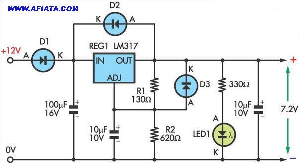 voltage regulator circuit 12V to 6V using LM371, 1N4004