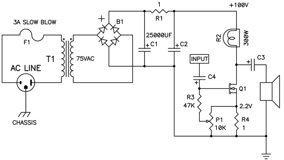 Simple Power Supply and Audio Amplifier Circuit