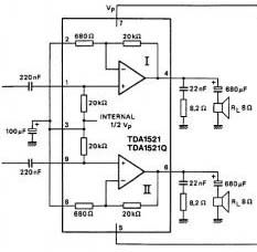 TDA1521A stereo audio amplifier circuit