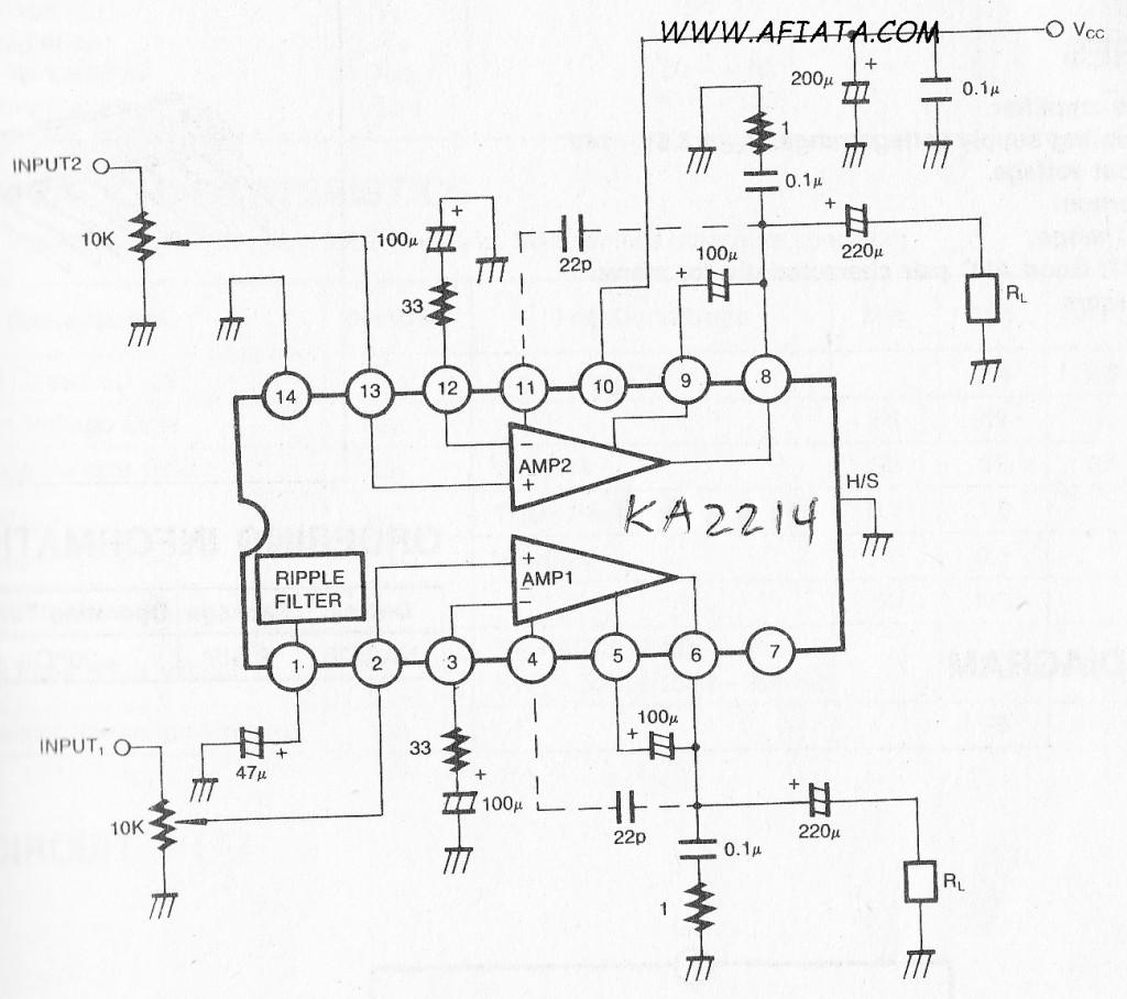 op amp preamp circuit using KA2214