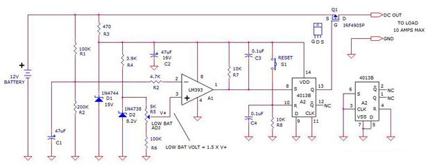 12V Battery Voltage Monitor using LM393 4013B IRF4905P
