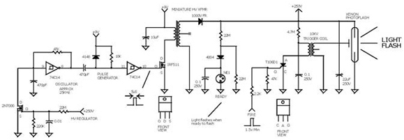 9v battery powered xenon flash control circuit using 74c14  2n7000  1mps11