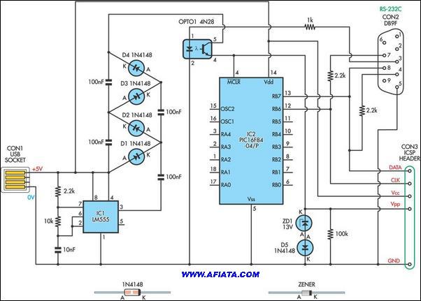 pic18f2550 USB Converter using LM555, pic18f2550, 1N4148, 4N28