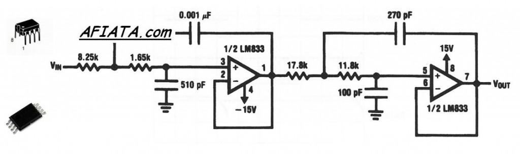 OP AMP AUDIO circuit using LM833DG