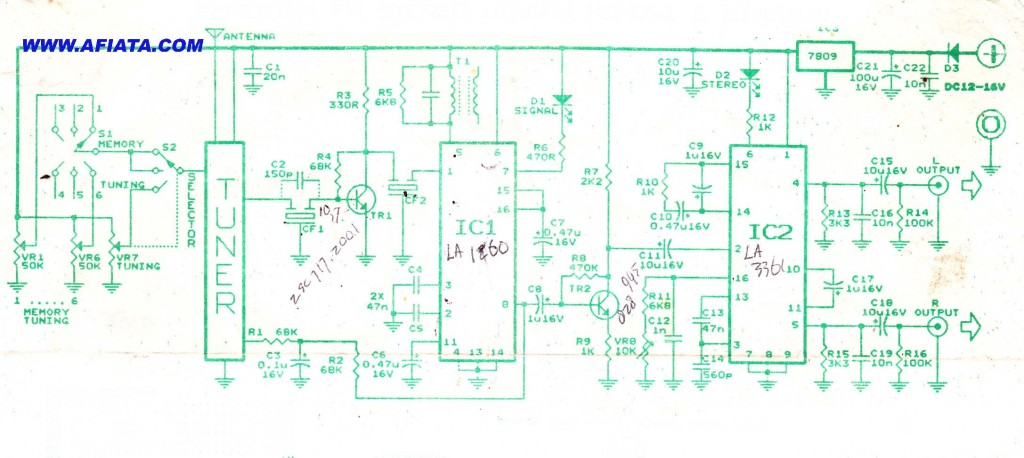 FM stereo radio receiver circuit using LA1260, LA3361, Tuner box