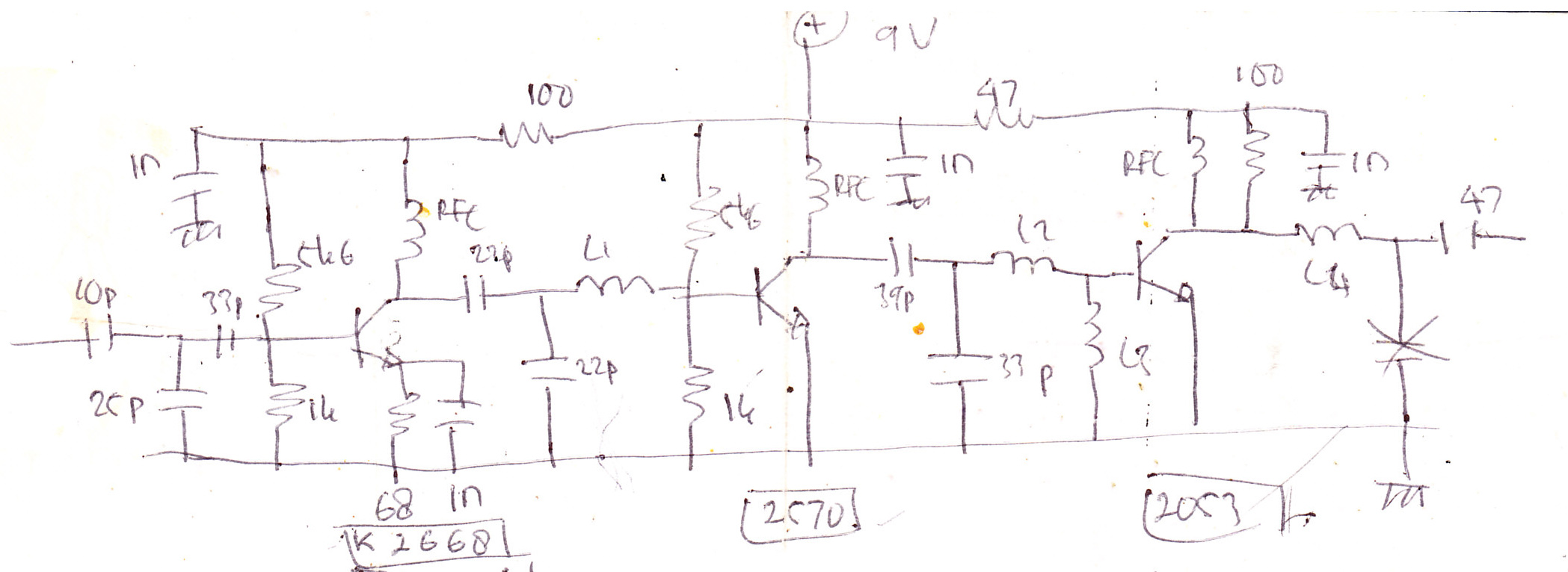 RF Amplifier with MOSFET K2668, 2570, 2053 circuit diagram
