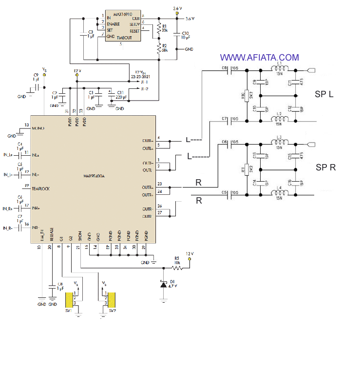 Audio bluetooth stereo circuit using MAX98400A and MAX16910