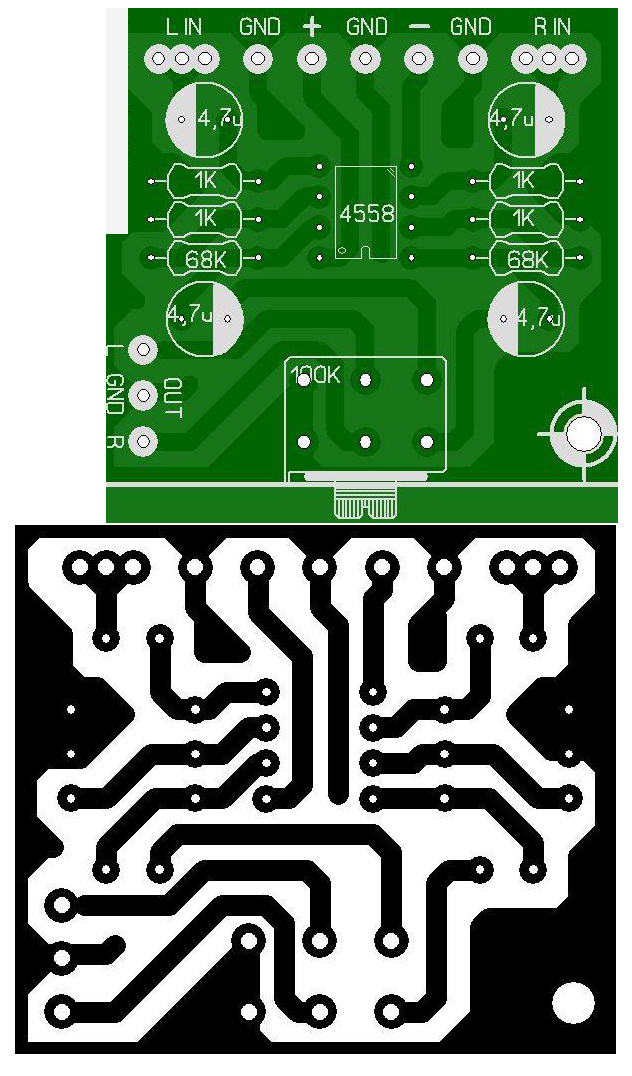 PCB Layout IC 4558 op amp