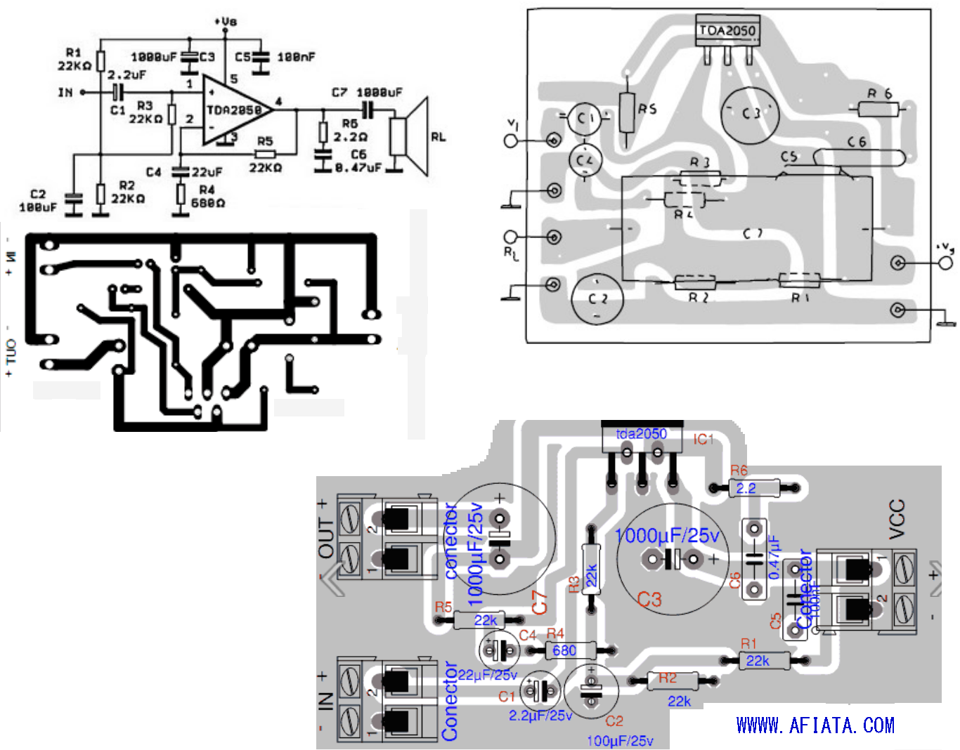 Tda2050 Layout And Circuit