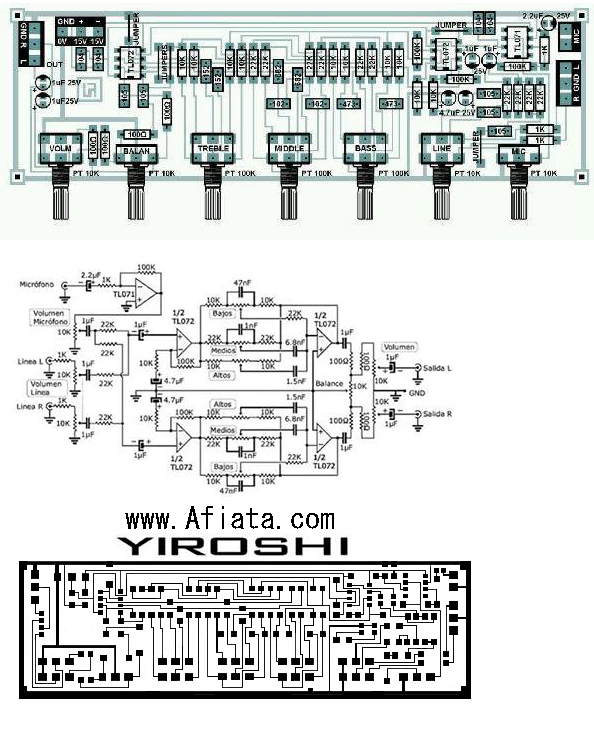 Audio Tone Control - Layout and circuit diagram by  yiroshi