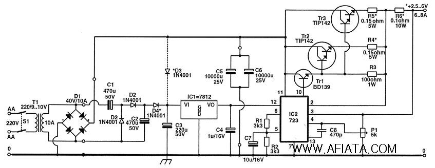 cell phone power supply schematic using 723 and 7812