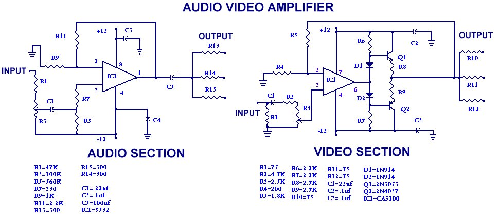 Simple audio and video amplifier