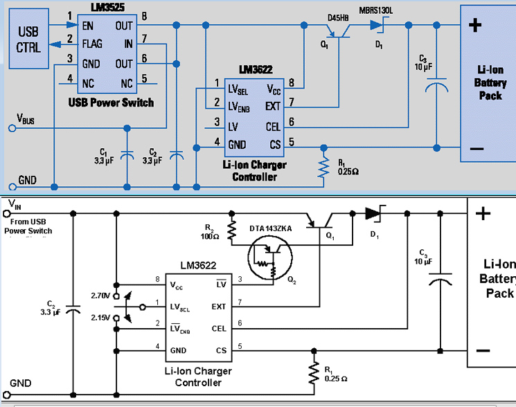 USB charger battery schema