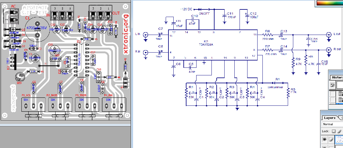 TDA1524A stereo preamplifier circuit diagram
