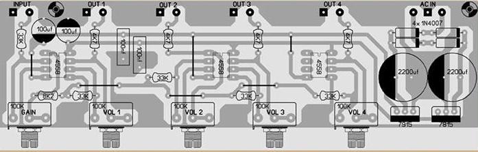 4 channel audio splitter layout Audio Distribution Amplifier[