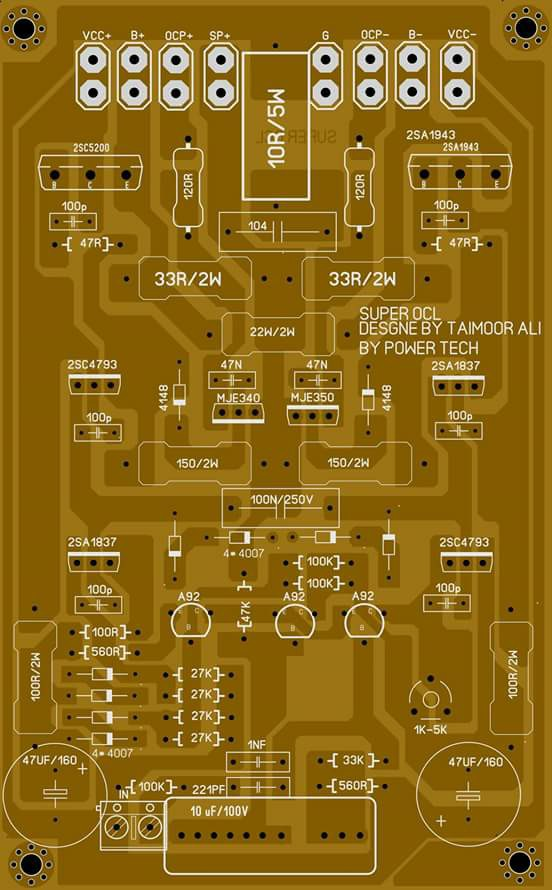 PCB layout super OCL 500 Watt Power Amplifier Circuit