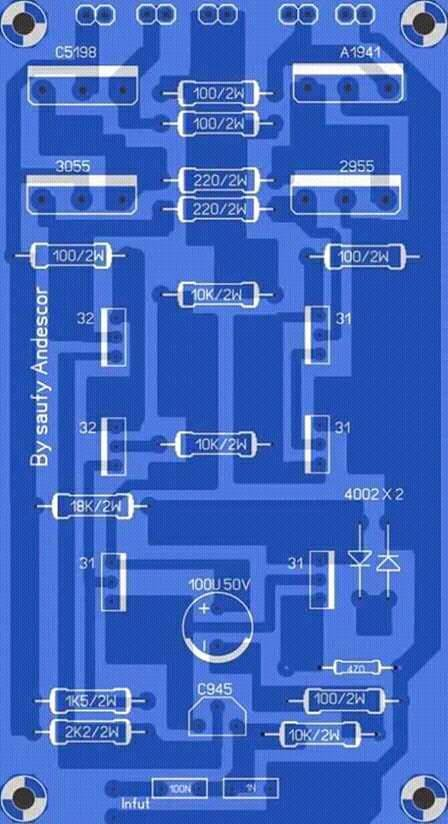 circuit diagram in parallel high power audio amplifier layout    diagram    electronic  high power audio amplifier layout    diagram    electronic