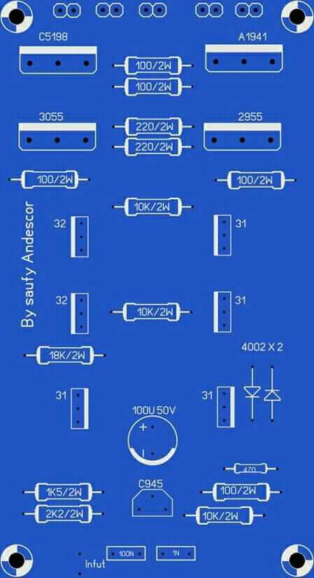 High Power Audio Amplifier Layout Diagram
