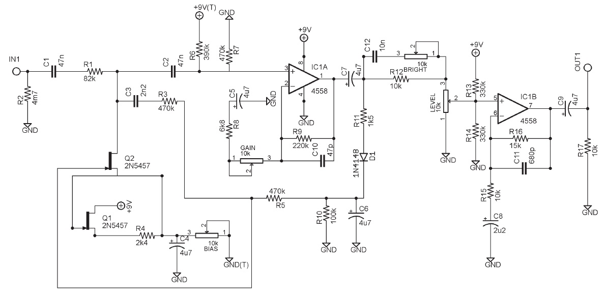 op amp Compressor Circuit DIAGRAM using IC1 4558