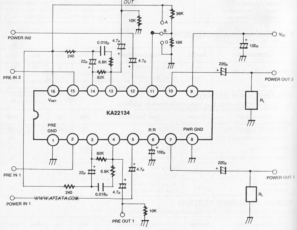 Dual Pre Power Amplifier Volume Controller And Dc Motor Speed Electronic Circuit Using Ka22134
