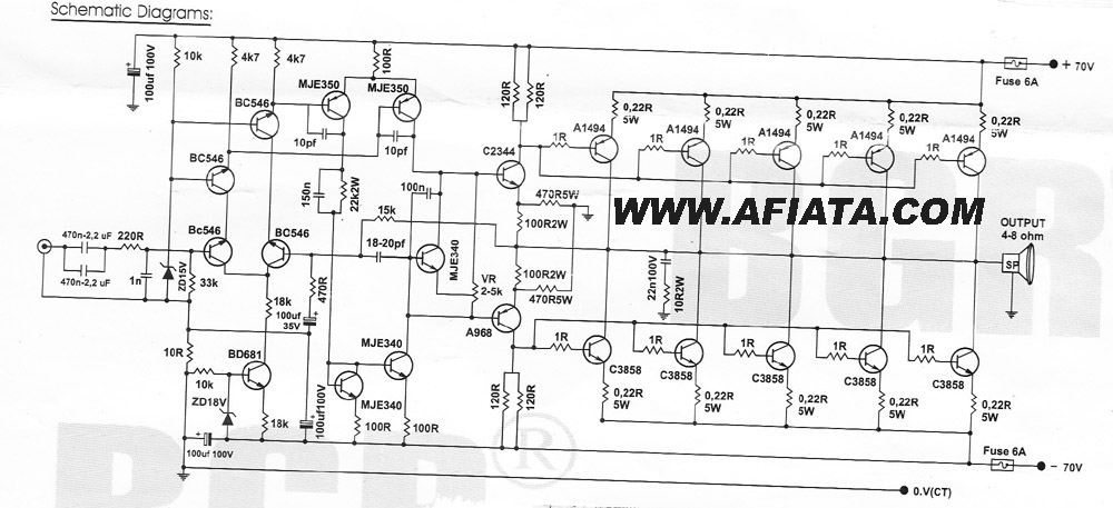 500 watts car audio amplifier circuit diagram