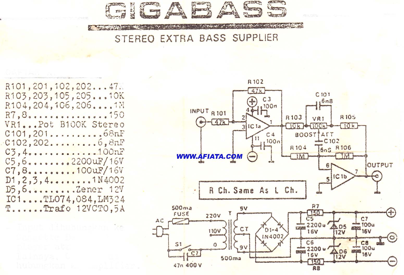 Op Amp Circuit Electronic Diagram And Layout Rf Amplifiers This Based On The Lm324 Ic Stereo Giga Bass Using Tl074 Tl084